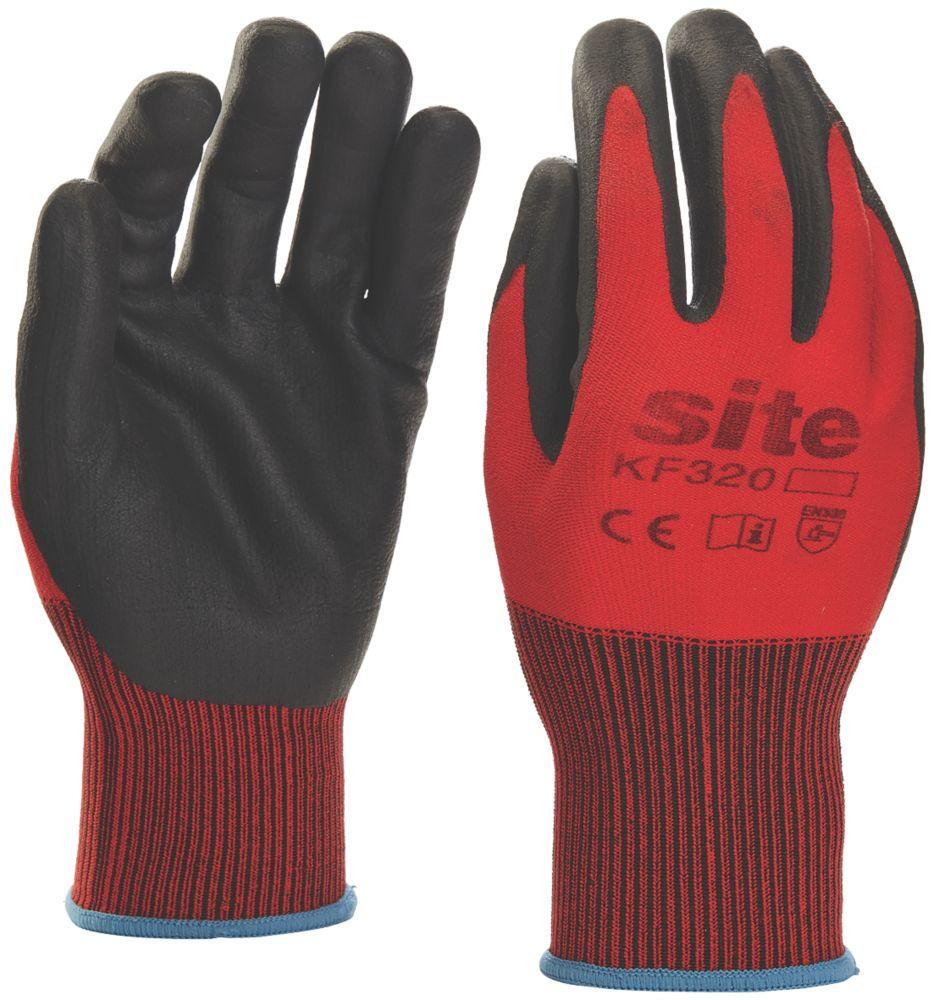 Gants revêtus de mousse de nitrile Site KF320 rouge / noir tailleM