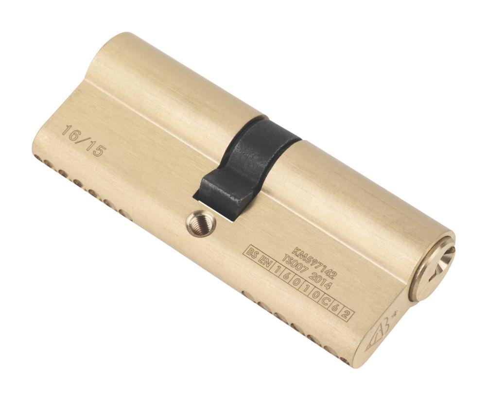 Serrure à double cylindre européen à 6points Smith & Locke 1* 40-40 (80mm), laiton poli