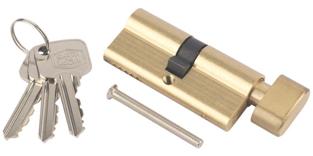 Cylindre européen à 6points avec bouton-poucier Smith & Locke 35-35 (70mm) en laiton