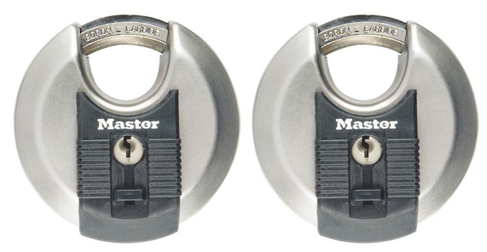 2cadenas disque en acier inoxydable résistants aux intempéries avec clés identiques Master Lock Excell 70mm