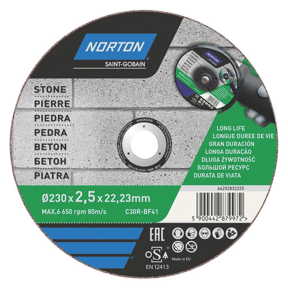 """Disque à tronçonner pour pierre/maçonnerie Norton 9"""" (230mm) x 2,5 x 22,2mm"""