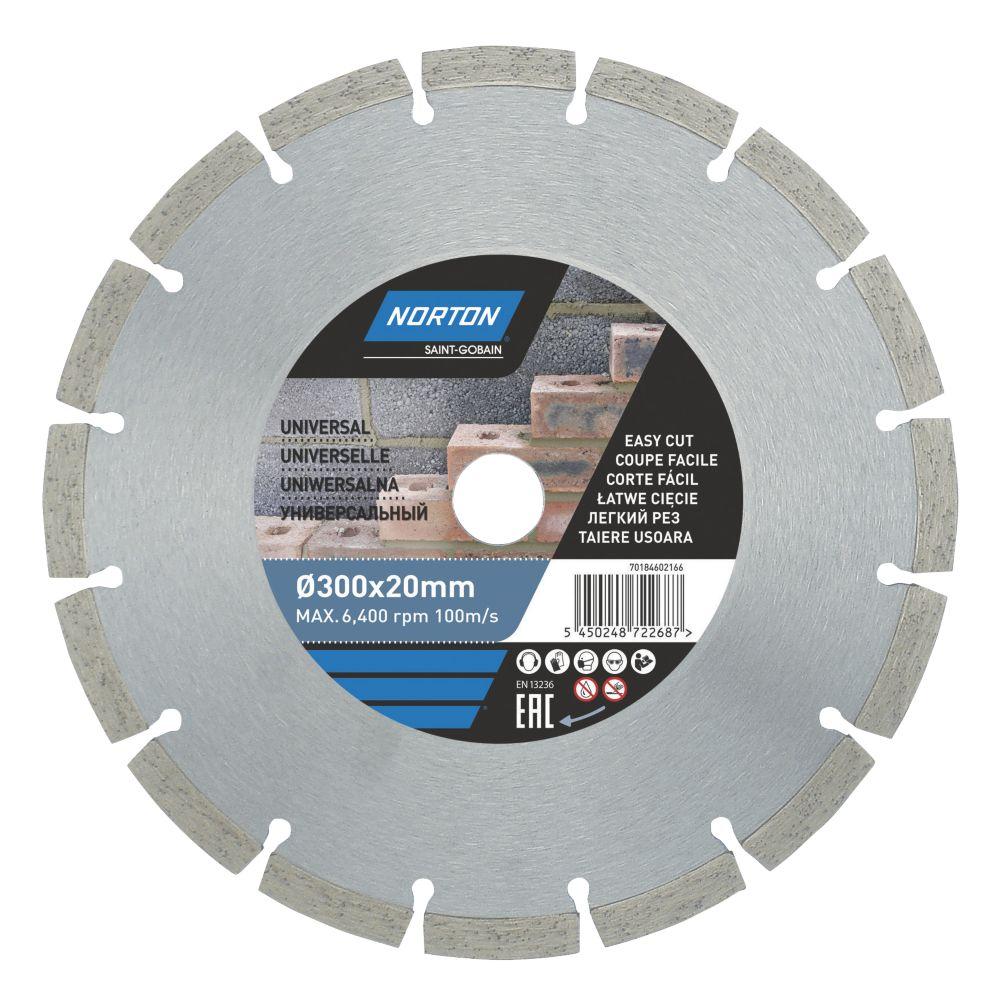 Disque de coupe diamant segmenté pour maçonnerie/pierre Norton 300 x 20mm