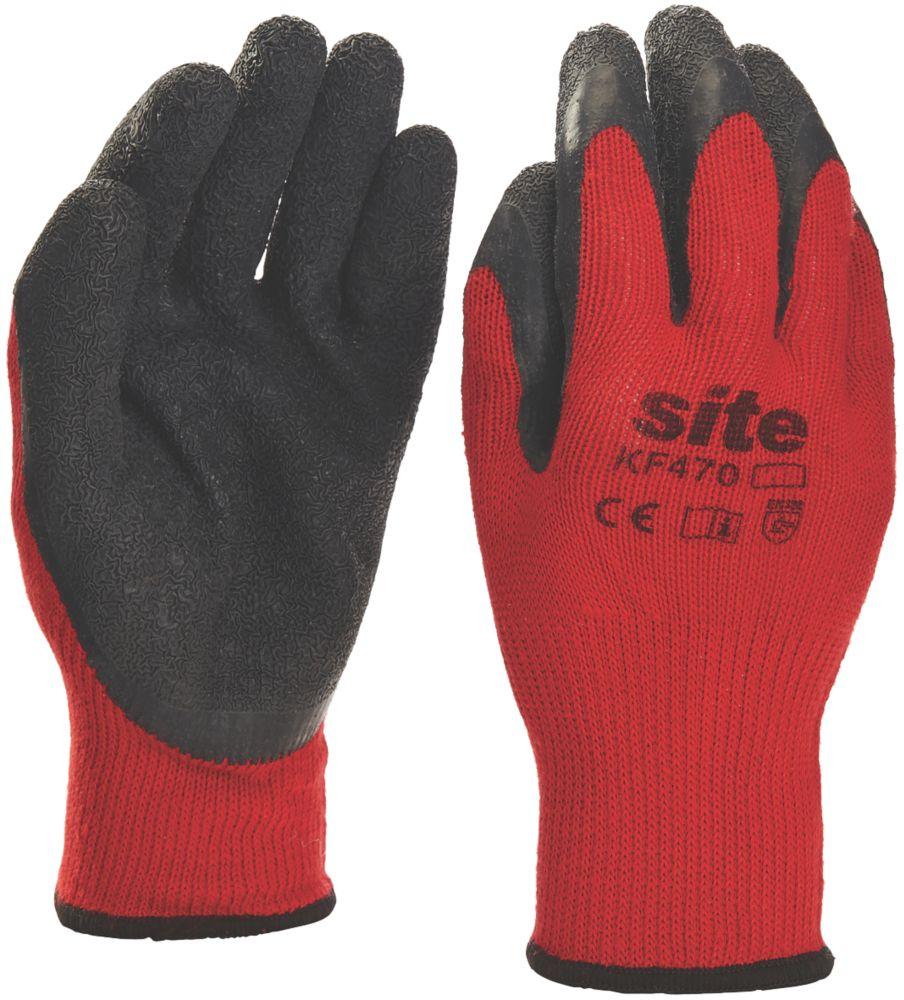 Gants de préhension en latex Site KF470 rouge / noir tailleL