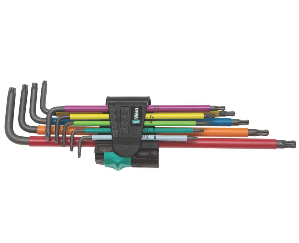 Jeu de 9clés enL extra-longues BlackLaser multicolores TX Wera avec fonction de retenue