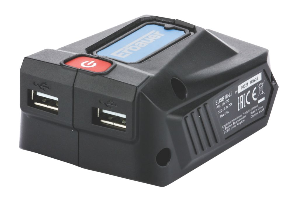 Adaptateur de charge USB pour batterie Erbauer EUSB18-Li