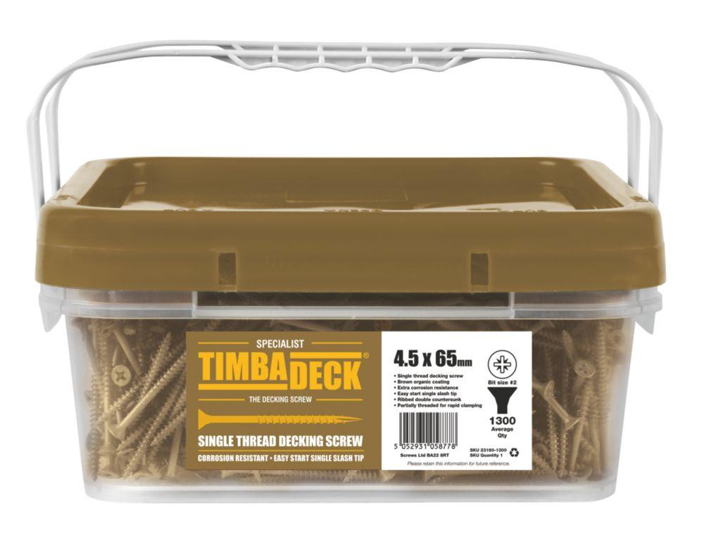 1300vis pour terrasses à double tête fraisée en acier au carbone Timbadeck 4,5 x65mm