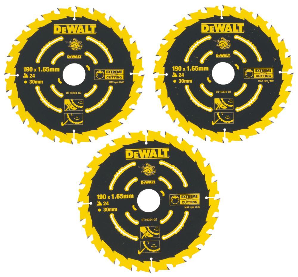 Lames de scie circulaire 24dents DeWalt Extreme 190 x 30mm, lot de 3