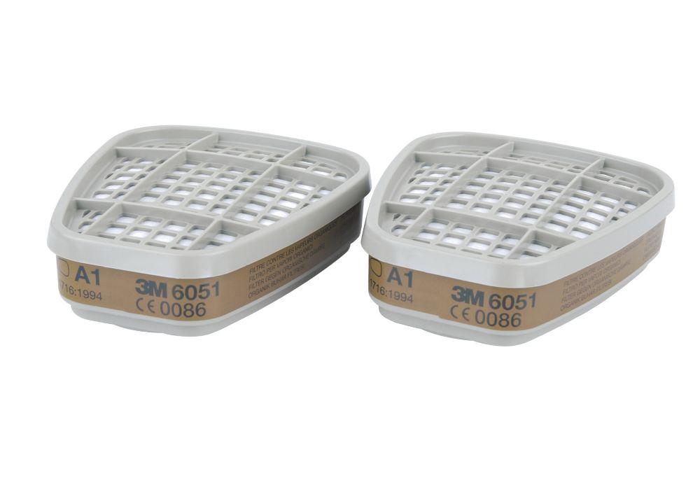 Filtres pour appareil de protection respiratoire réutilisables A1 3M6051, lot de 2