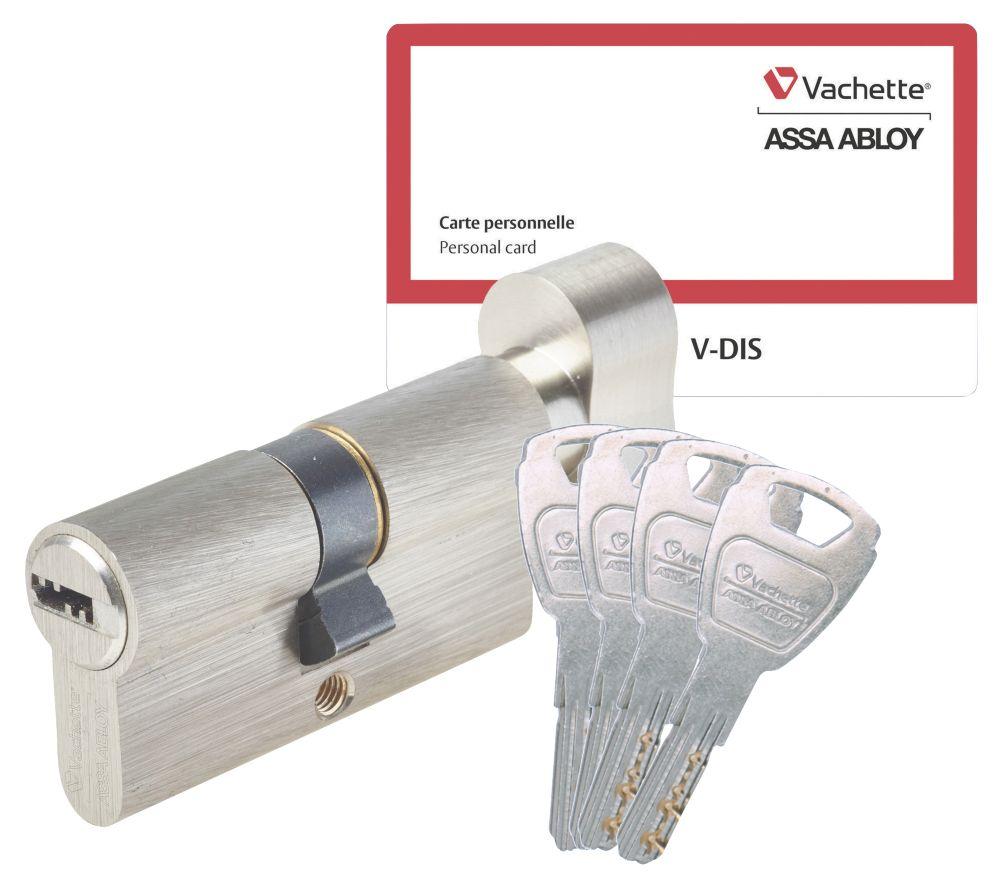 Cylindre de sécurité à bouton vachette 30 x 30 mm