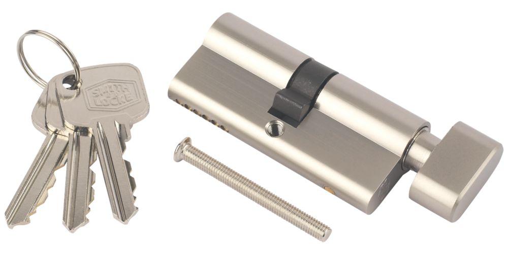 Cylindre européen à 6points avec bouton-poucier Smith & Locke 30-30 (60mm) en nickel