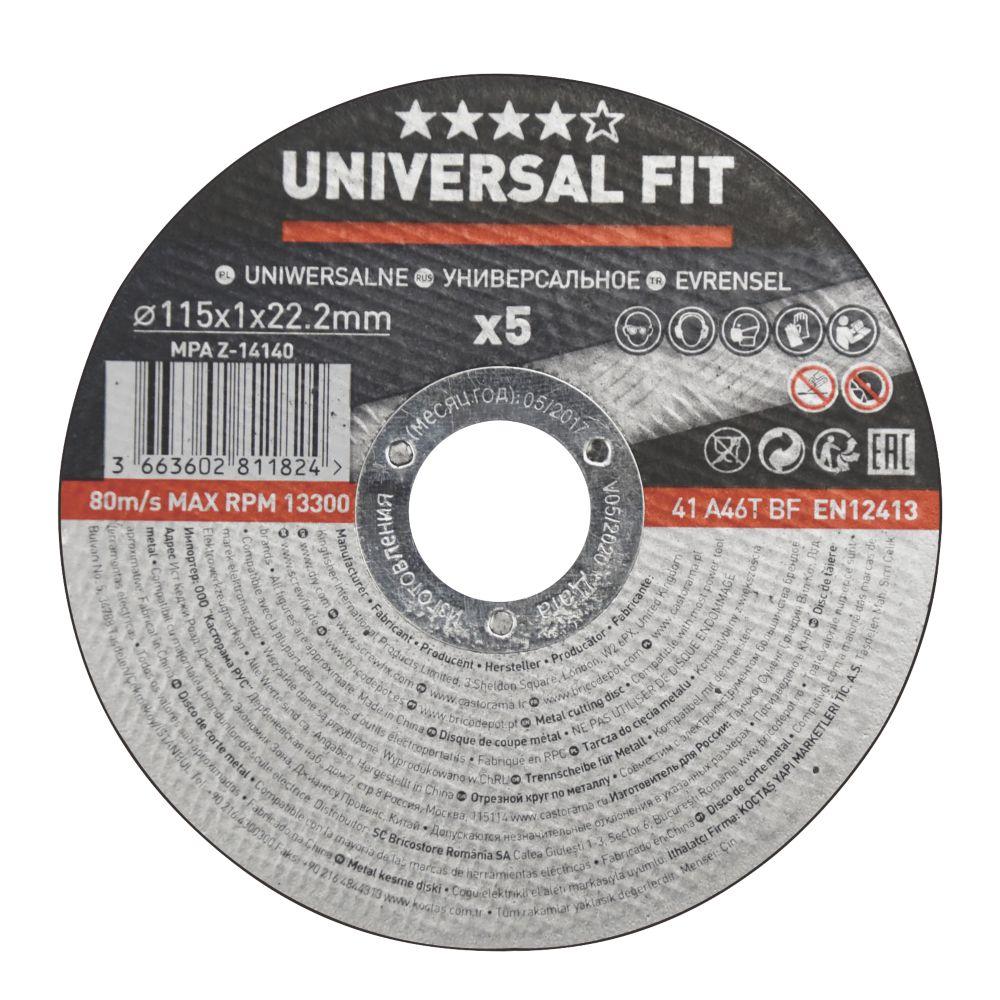 """Disques à tronçonner le métal 4½"""" (115mm) x 1 x 22,2mm, lot de 5"""