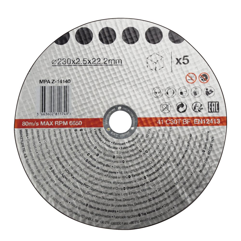 Disque de coupe pierre 230x2,5x22,2mm 5pièces