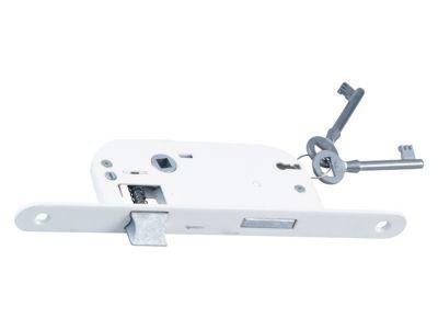 Serrure à encastrer Bricard 4 gorges bout rond blanc axe 40 mm