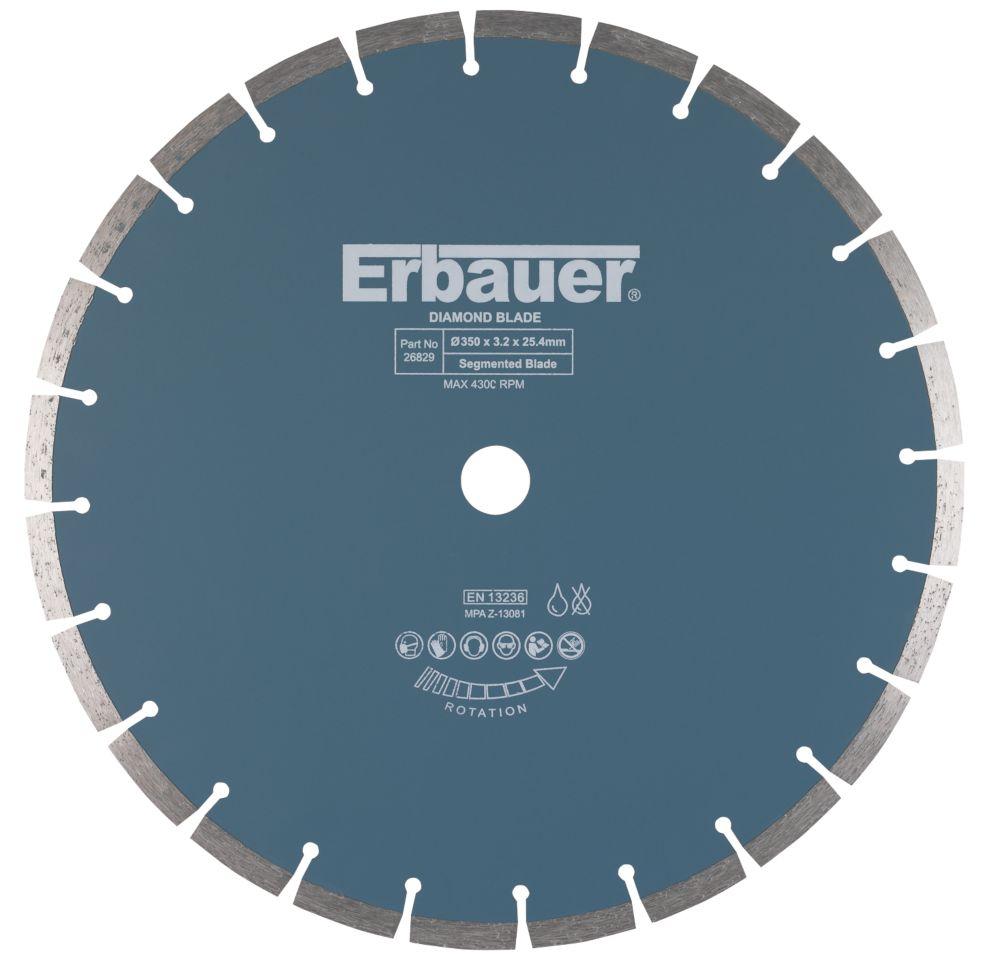 Disque de coupe diamant segmenté pour maçonnerie/pierre Erbauer 350 x 25,4mm