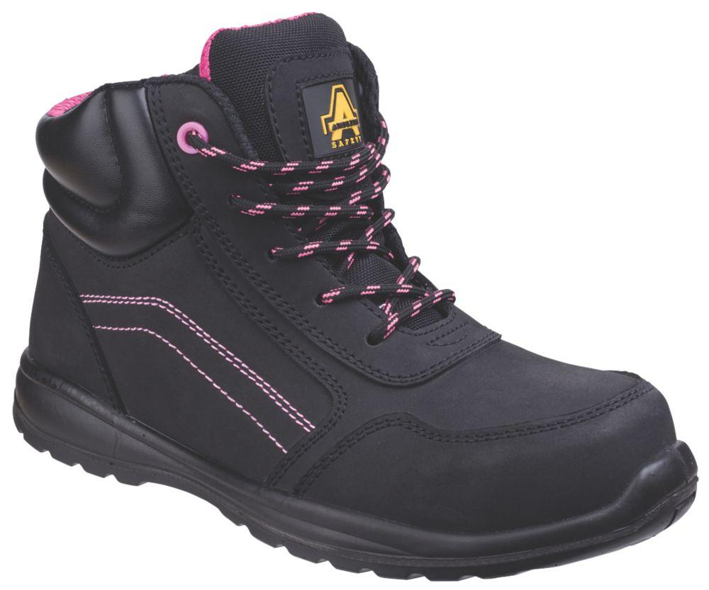 Chaussures de sécurité montantes pour femme sans métal Amblers Lydia noir / rose taille38
