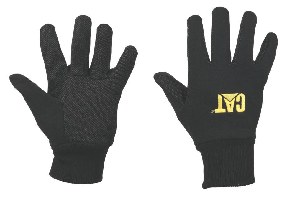Gants en jersey CAT avec paumes à micropicots noirs tailleL