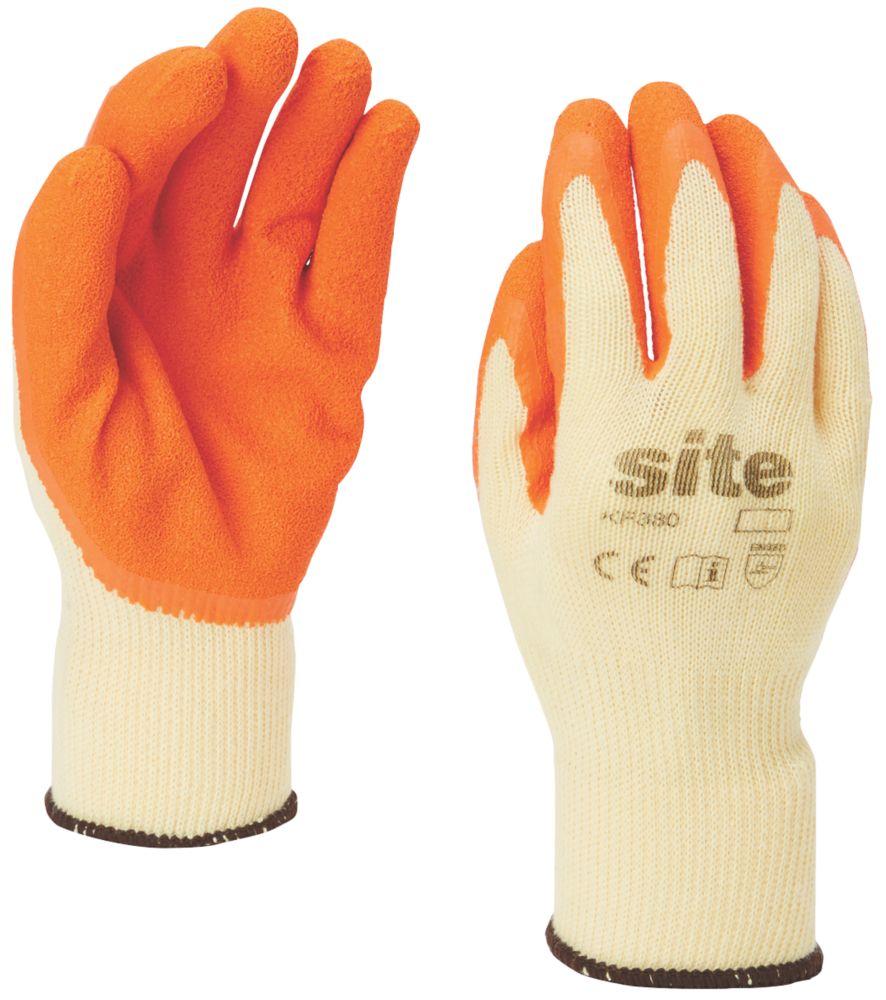 Gants de construction en latex Site KF380 orange/jaune tailleS