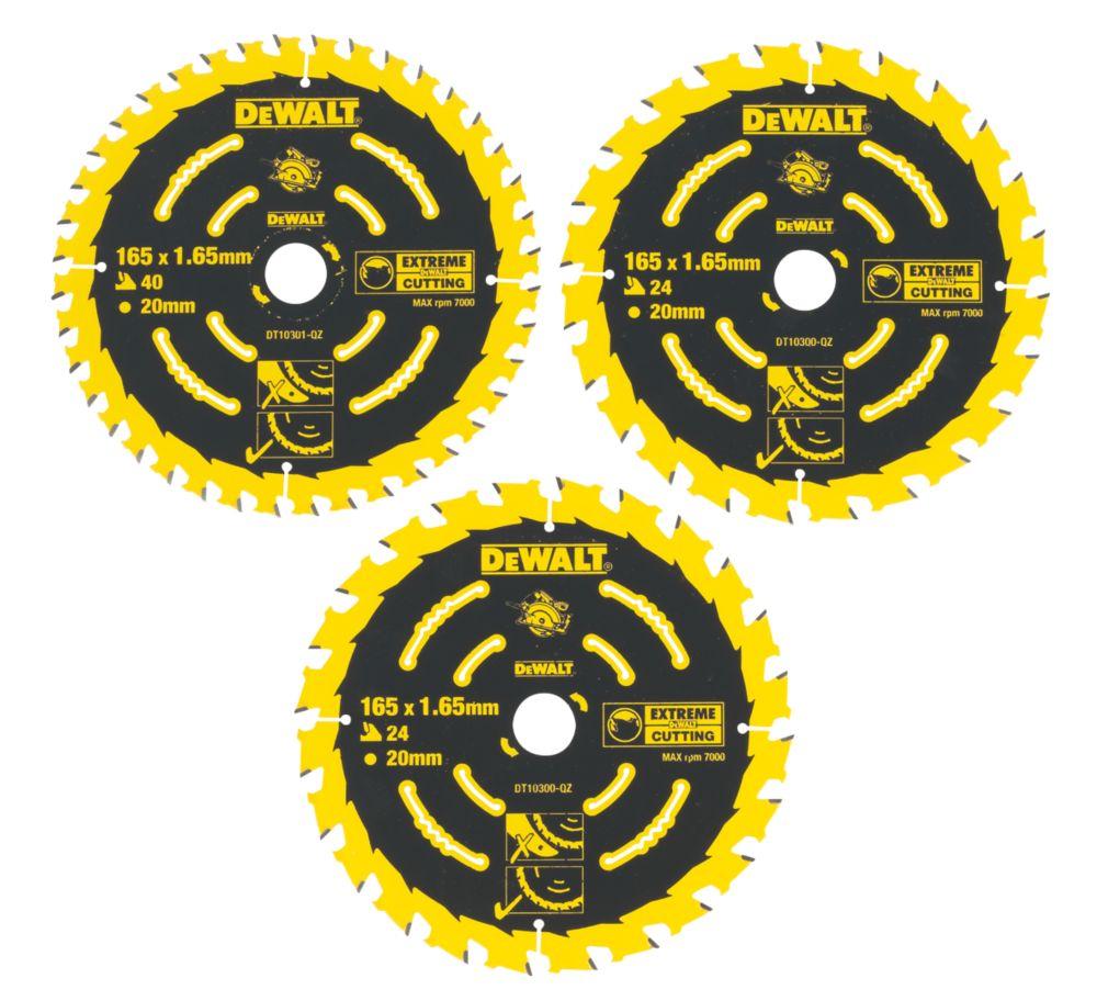 Lames de scie circulaire 24 / 40dents DeWalt Extreme 165 x 20mm, lot de 3