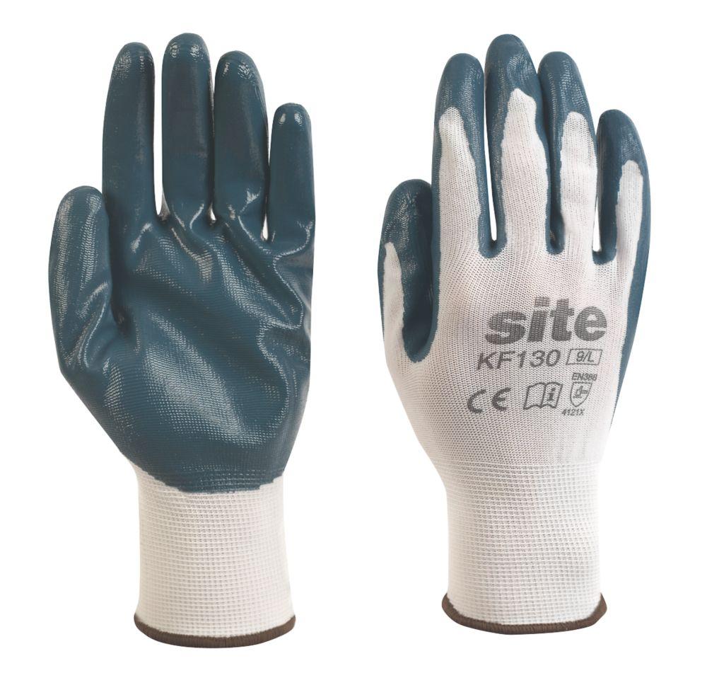 Gants revêtus de nitrile Site KF130 blanc / bleu tailleM