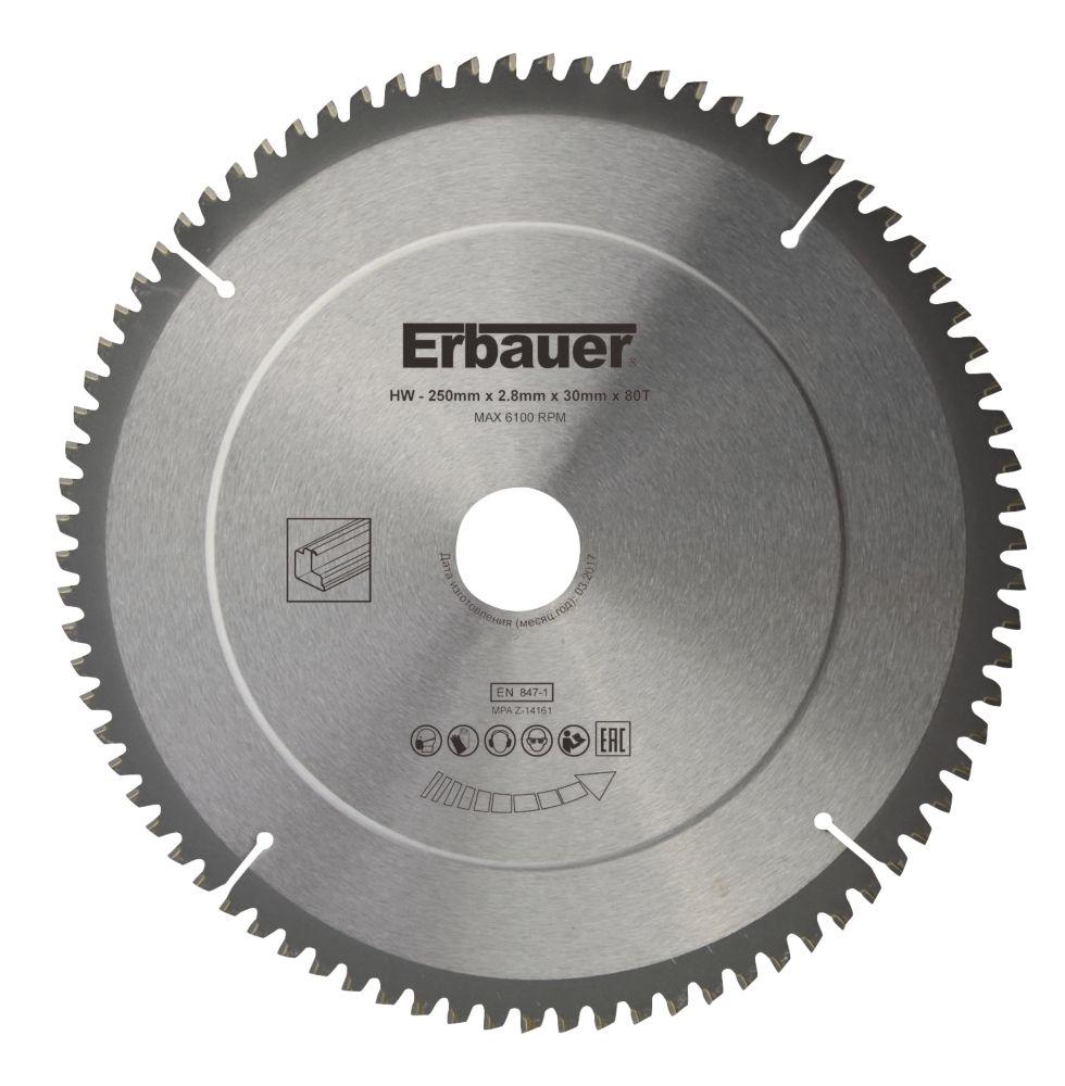 Lame de scie TCT 80dents Erbauer 250 x 30mm