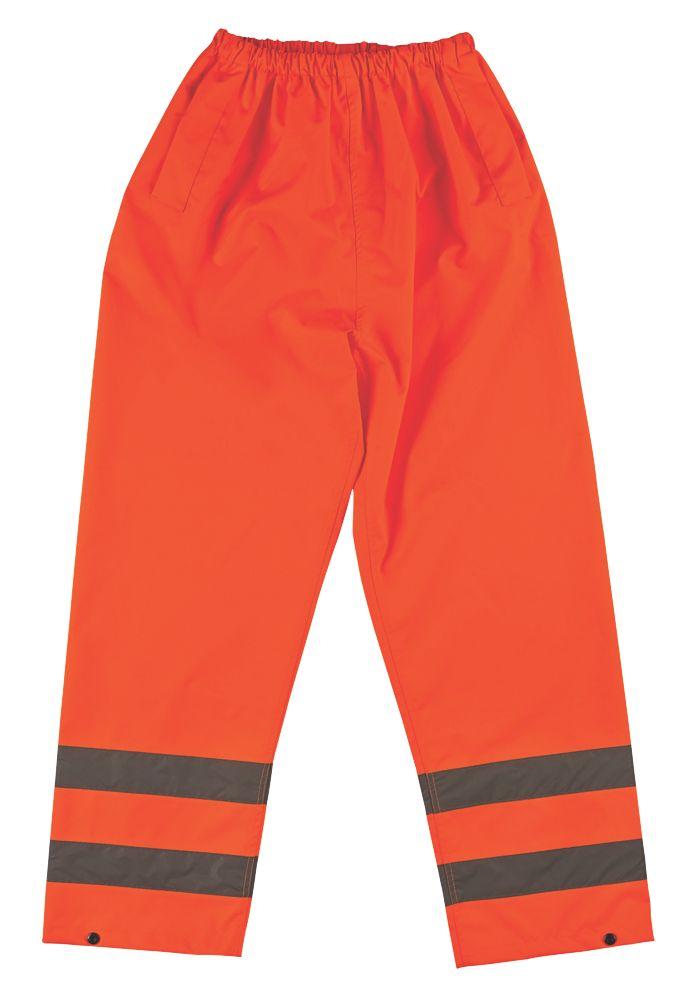 """Pantalon haute visibilité à taille élastique orange tailleXL, tour de taille 27½-48"""" et longueur de jambe 31"""""""