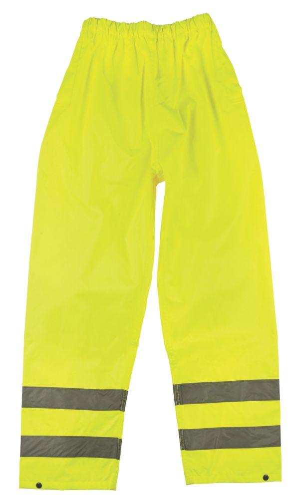 """Pantalon réfléchissant haute visibilité à taille élastique jaune tailleXL, tour de taille 27½-48"""" et longueur de jambe 30"""""""