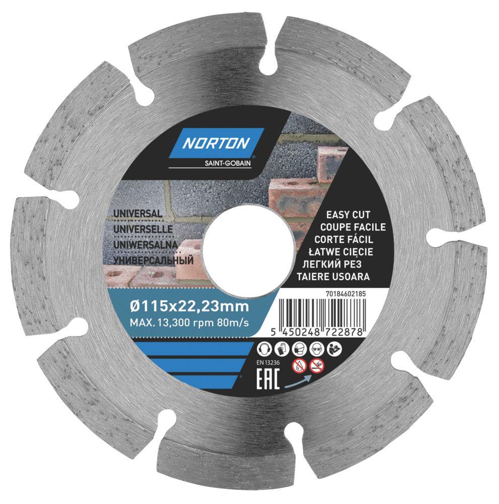 Disque de coupe diamant segmenté pour maçonnerie/pierre Norton 115 x 22,23mm