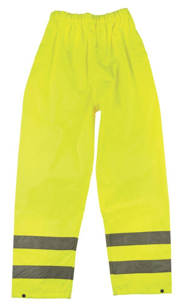 """Pantalon imperméable haute visibilité à taille élastique jaune tailleM, tour de taille 33-34"""" et longueur de jambe 30"""""""