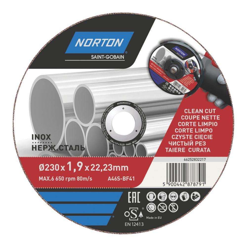 """Disque à tronçonner pour métal/acier inoxydable Norton 9"""" (230mm) x 1,9 x 22,2mm"""