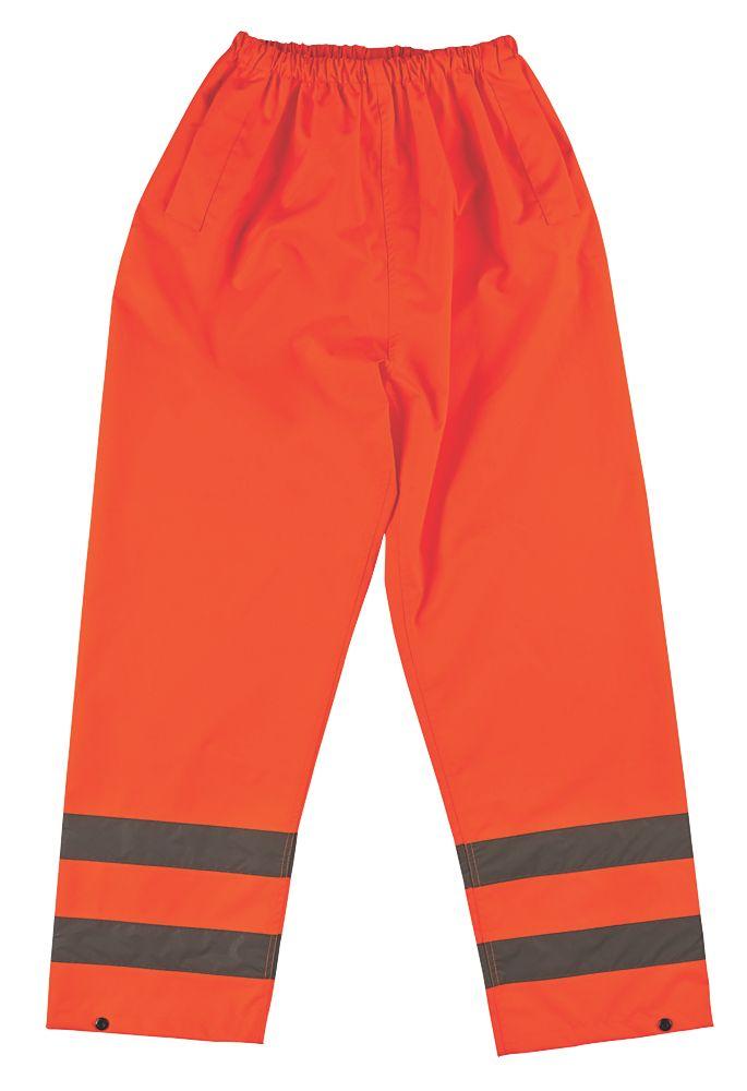 """Pantalon imperméable haute visibilité à taille élastique orange tailleM, tour de taille 33-34"""" et longueur de jambe 30"""""""