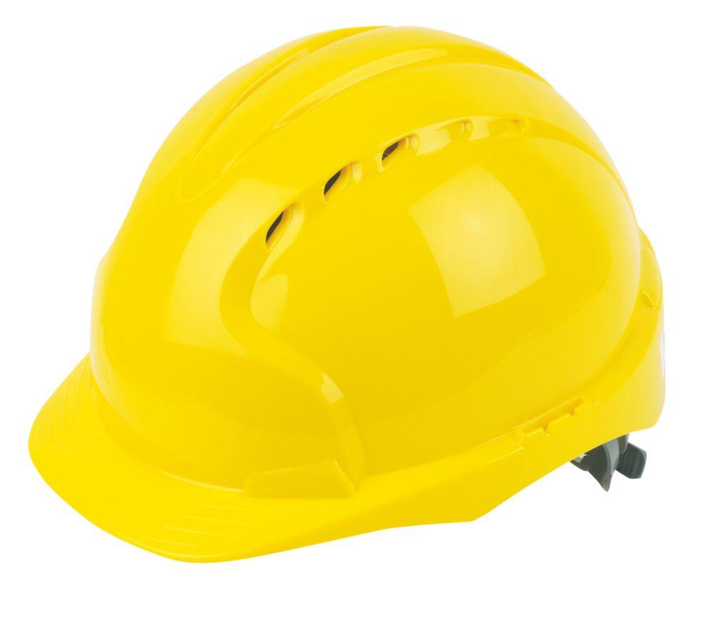 Casque de sécurité ventilé à cliquet coulissant et visière moyenne JSP EVO2 jaune