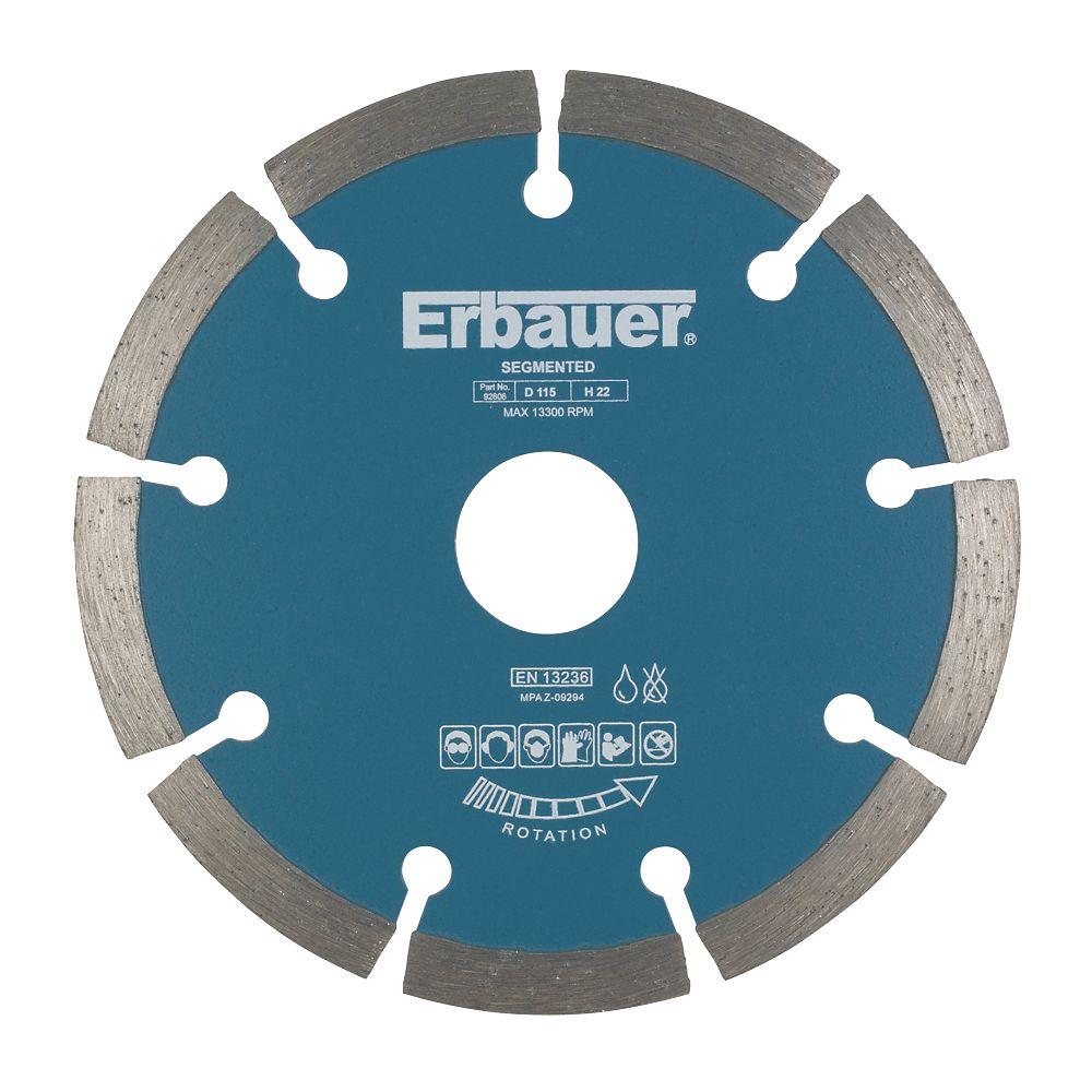 Disque de coupe diamant segmenté pour maçonnerie/pierre Erbauer 115 x 22,2mm