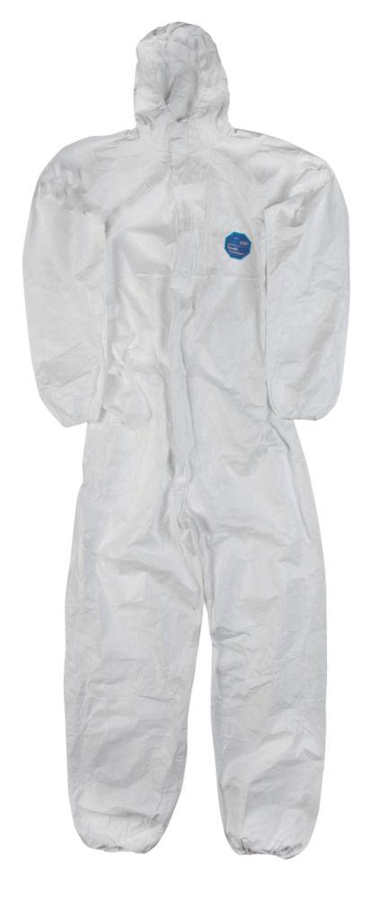 """Combinaison de travail à capuche jetable classique DuPont Tyvek CH5 blanche tailleL, tour de poitrine 40-42"""" et longueur de jambe 32"""""""