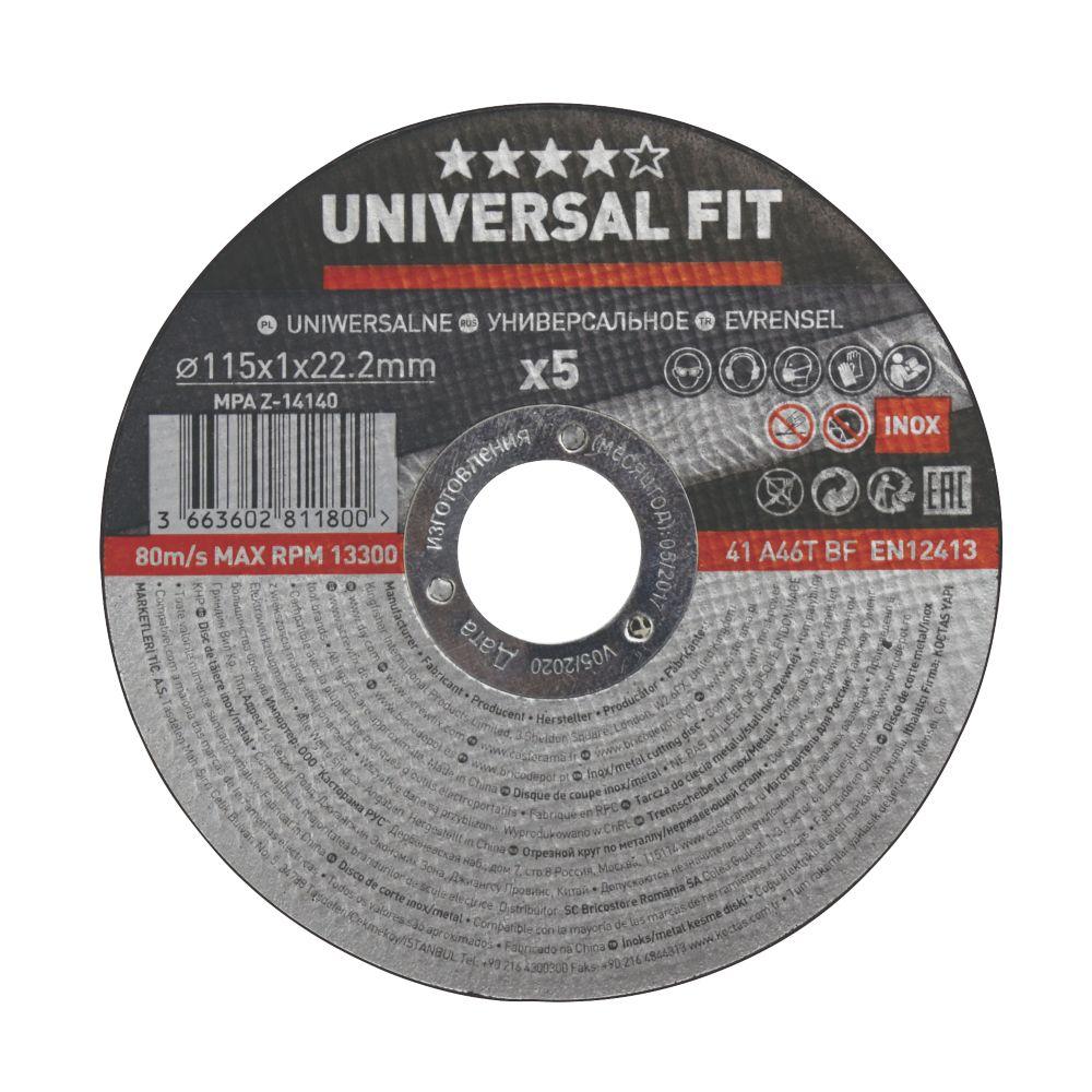 """Disques à tronçonner l'acier inoxydable / le métal 4½"""" (115mm) x 1 x 22,2mm, lot de 5"""