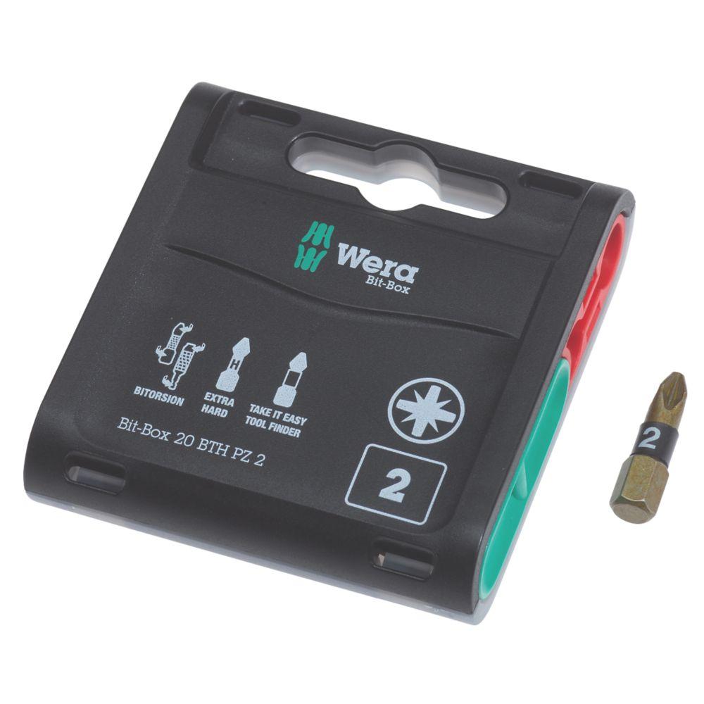 Lot de 20embouts extrarobustes BiTorsion Wera Bit-Box PZ2 x 25mm