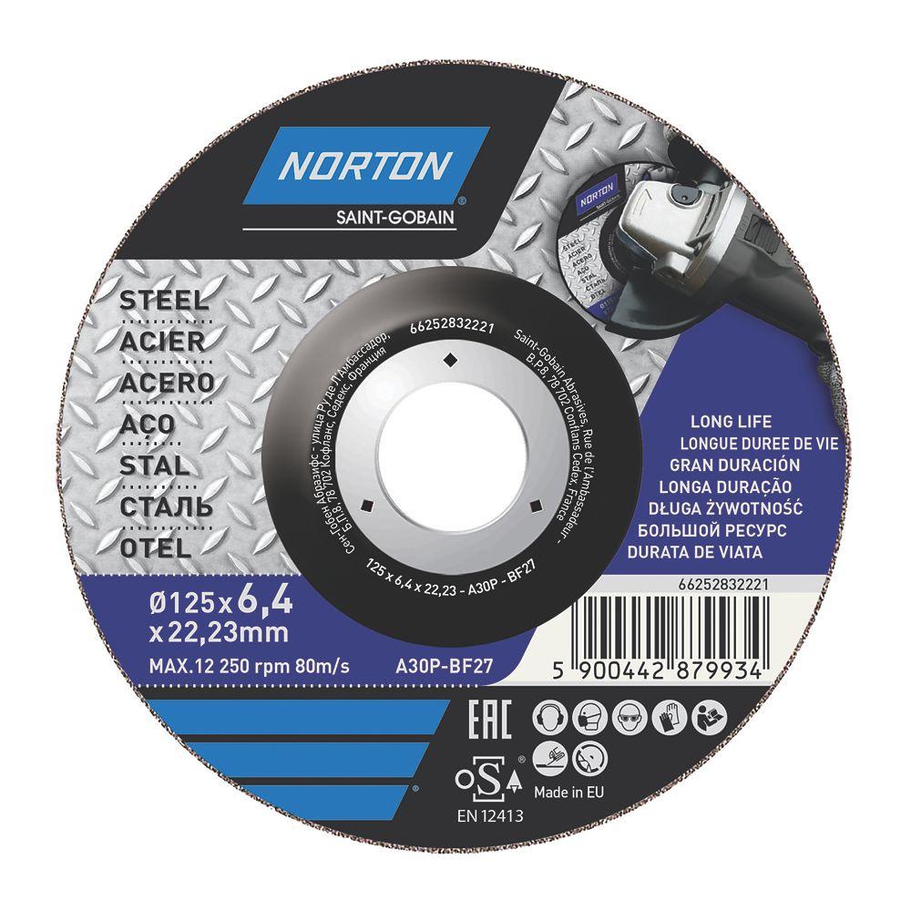 """Disque de meulage du métal Norton 5"""" (125mm) x 6 x 22,2mm"""