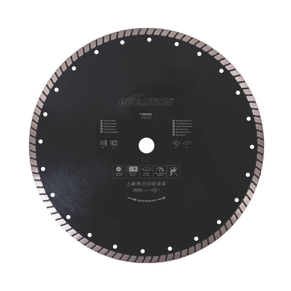 Disque diamant Turbo pour maçonnerie/pierre Evolution 355 x 25,4mm