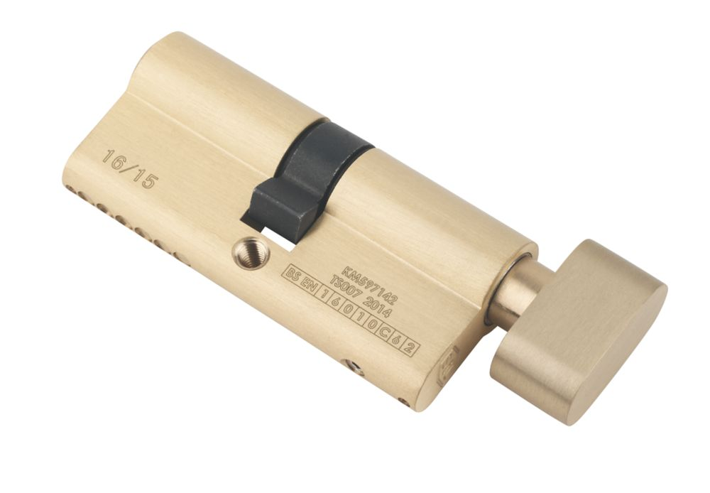 Serrure à cylindre européen à 6points à bouton-poucier Smith & Locke 35-35 (70mm), laiton poli
