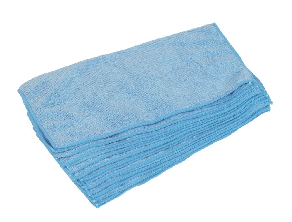 10chiffons de nettoyage en microfibre bleus 380x 380mm
