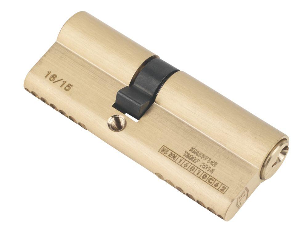 Serrure à double cylindre européen à 6points Smith & Locke 1* 35-45 (80mm), laiton poli