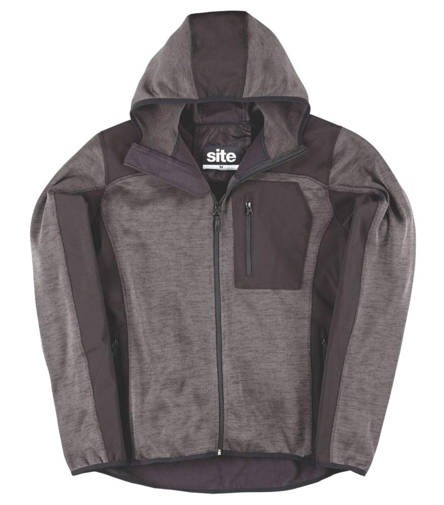 """Sweat à capuche tricoté Softshell Site Rowan gris foncé / noir tailleL, tour de poitrine 40-42"""""""
