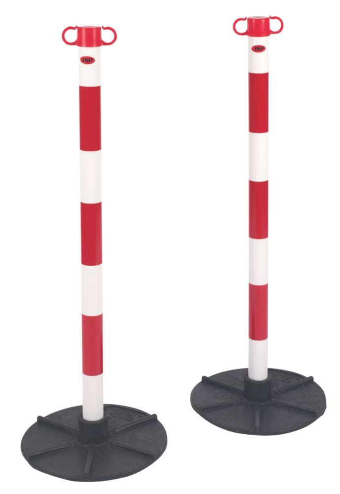 Poteaux de balisage et bases pour barrière à chaîne JSP blanc et rouge, lot de 2
