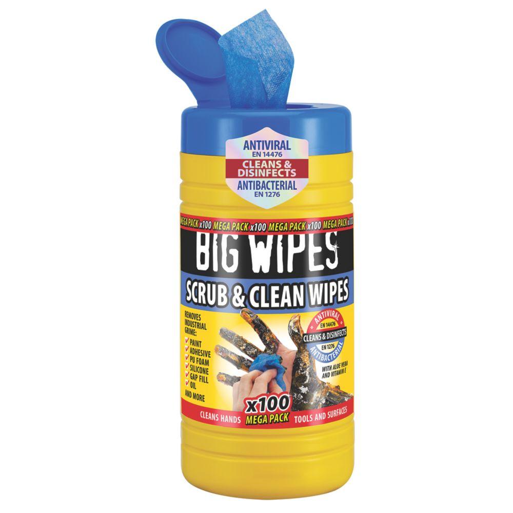 100lingettes nettoyantes et abrasives Big Wipes bleues