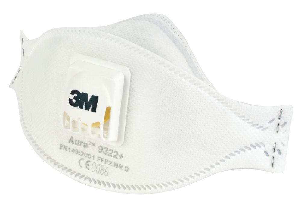 Appareil de protection respiratoire contre les poussières/brouillards à soupape jetable P2 3M Aura9322