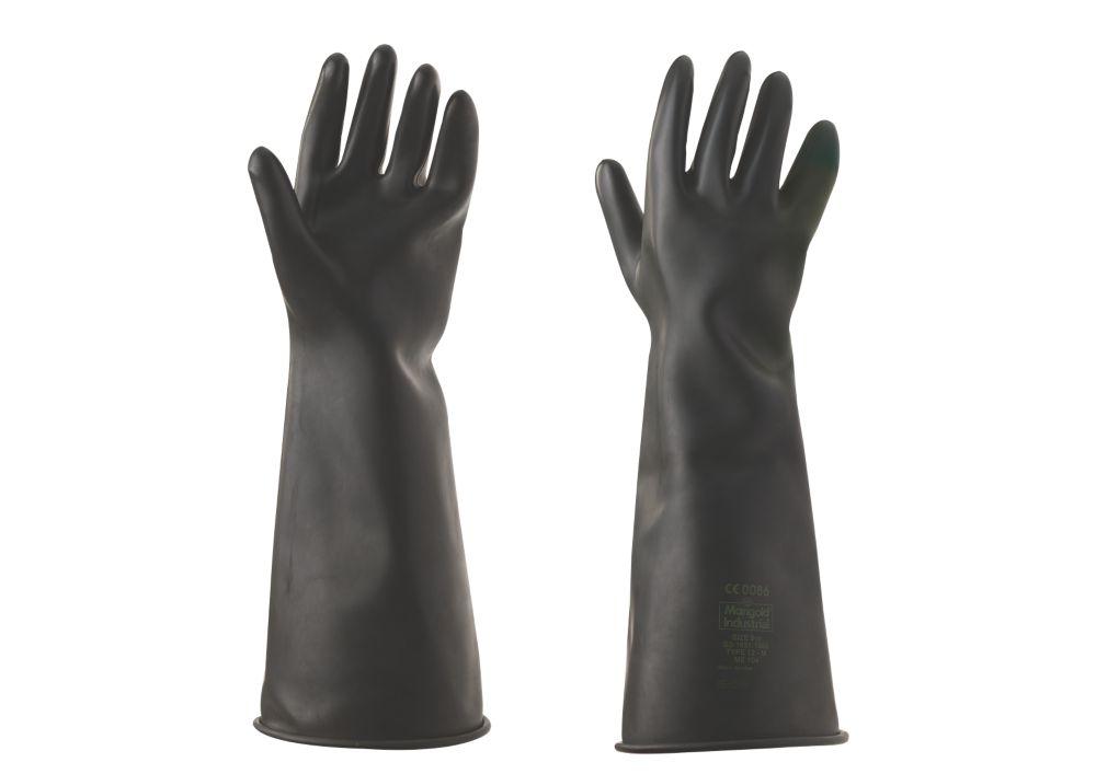 """Gants longue manchette de protection chimique 17"""" Marigold Industrial Emperor noirs tailleL"""