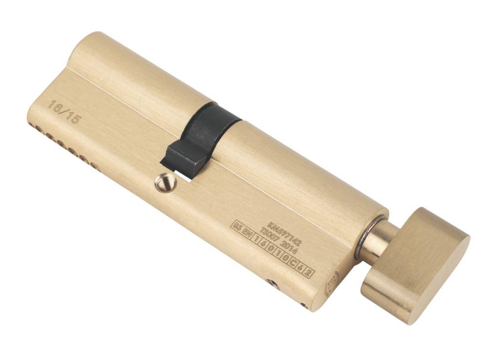 Serrure à cylindre européen à 6points à bouton-poucier Smith & Locke 45-50 (95mm), laiton poli