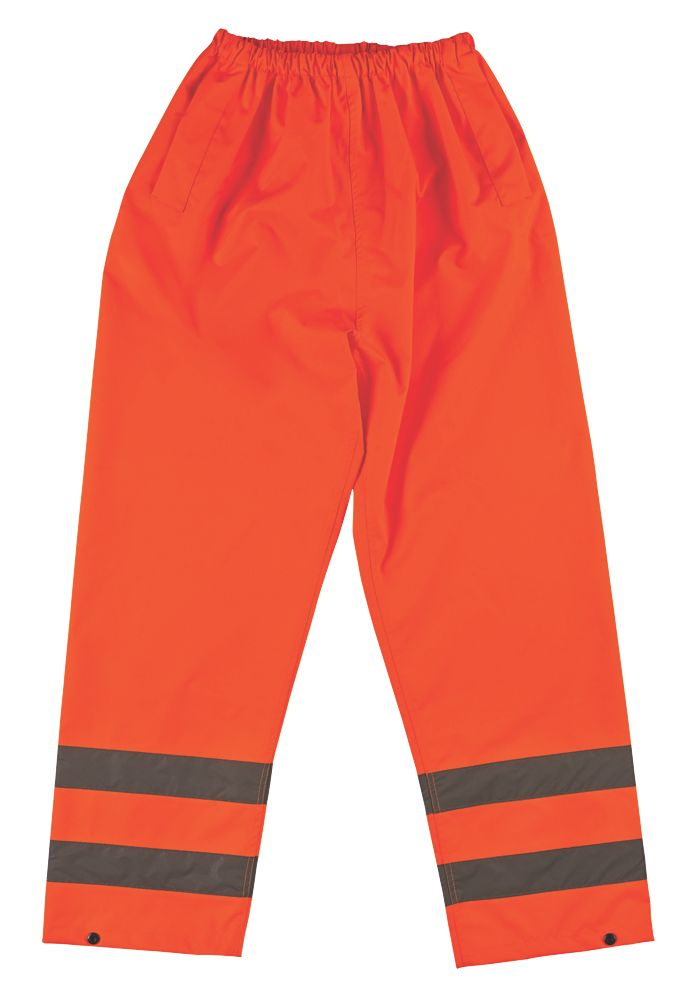 """Pantalon réfléchissant haute visibilité à taille élastique orange tailleXXL, tour de taille 28-50"""" et longueur de jambe 31"""""""