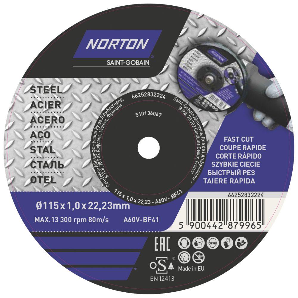 """Lot de 5disques à tronçonner pour métal Norton 4½"""" (115mm) x 1 x 22,23mm"""