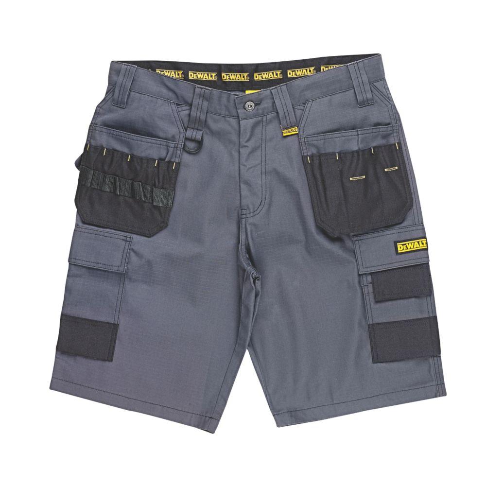 """Short de travail multi-poches DeWalt Ripstop gris / noir, tour de taille 38"""""""