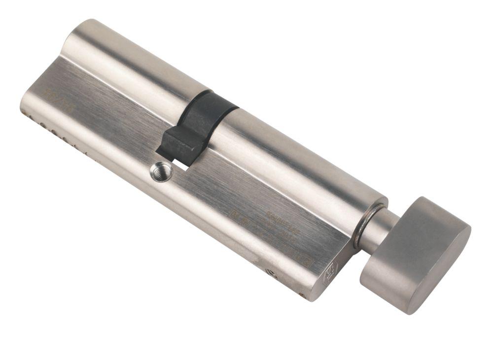 Serrure à cylindre européen à 6points à bouton-poucier Smith & Locke 45-50 (95mm), nickel poli